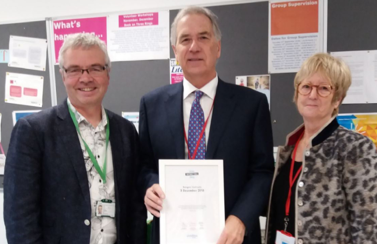 Peter Wanless Chief Executive of the NSPCC with Designer Contracts md, Peter Kelsey and Sue Kelsey at ChildLine HQ in London
