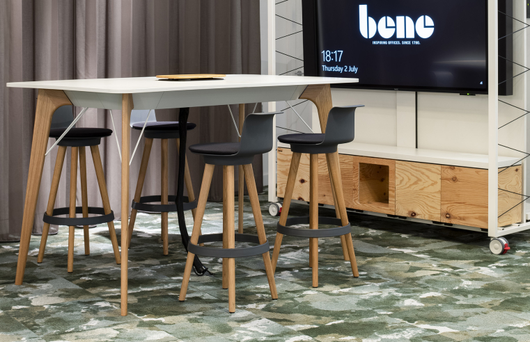 modulyss carpet tiles in the Clerkenwell showroom of office furniture brand, Bene