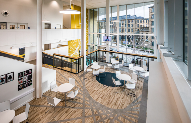 Bespoke Polyflor Expona Flow PUR patterns showcased at The University of Huddersfield's new School of Art, Design and Architecture.